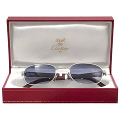 Vintage Cartier Wood Breteuil 50mm Gold and Precious Wood Brown Lens Sunglasses