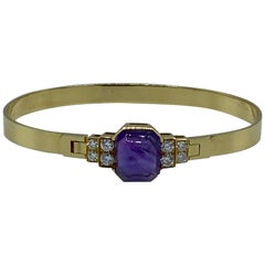 Vintage CARTIER Yellow Gold, Amethyst and Diamond Bangle Bracelet