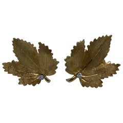 Vintage CARTIER Yellow Gold and Diamond Maple Leaves Earrings