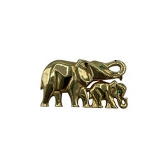 Vintage Cartier Yellow Gold and Emerald Elephant Brooch