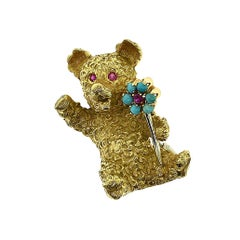 Vintage Cartier Yellow Gold Bear Ruby, Turquoise Flower Brooch Pin