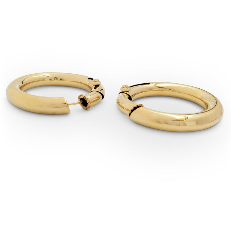 Women's Vintage Cartier Yellow Gold Hoop Earrings For Sale
