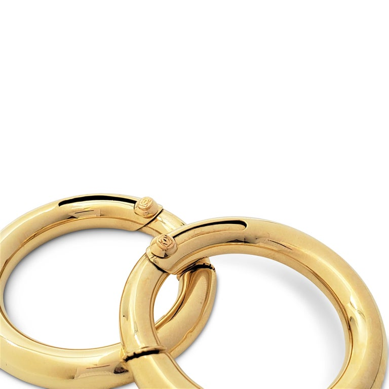 Vintage Cartier Yellow Gold Hoop Earrings For Sale 1