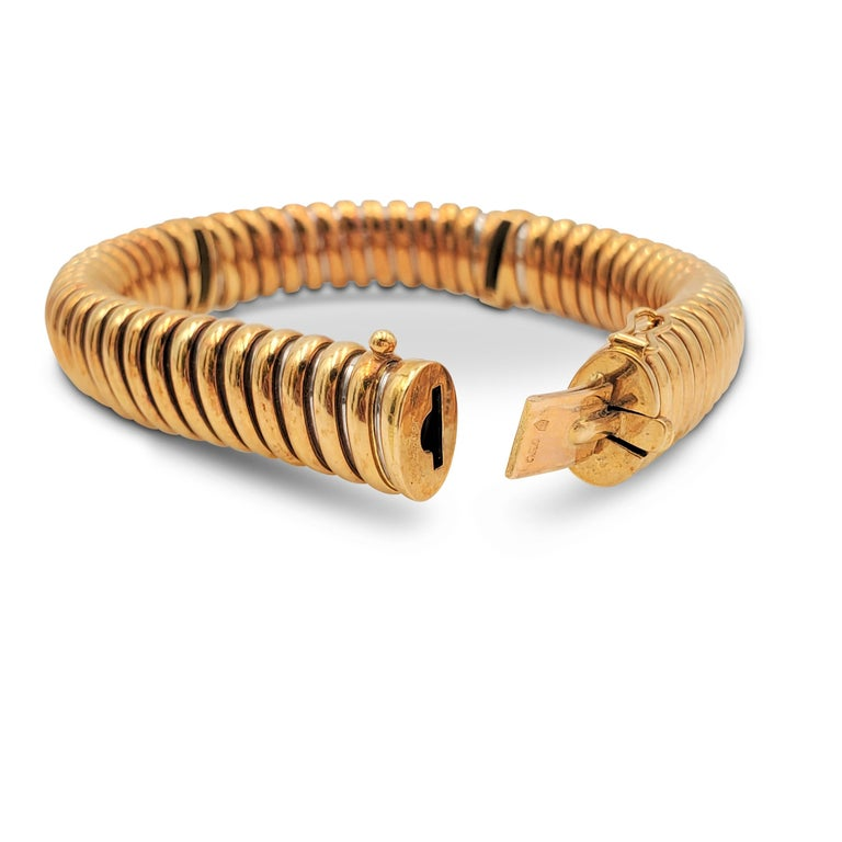 Round Cut Vintage Cartier Yellow Gold Stainless Steel and Diamond Flexible Bracelet