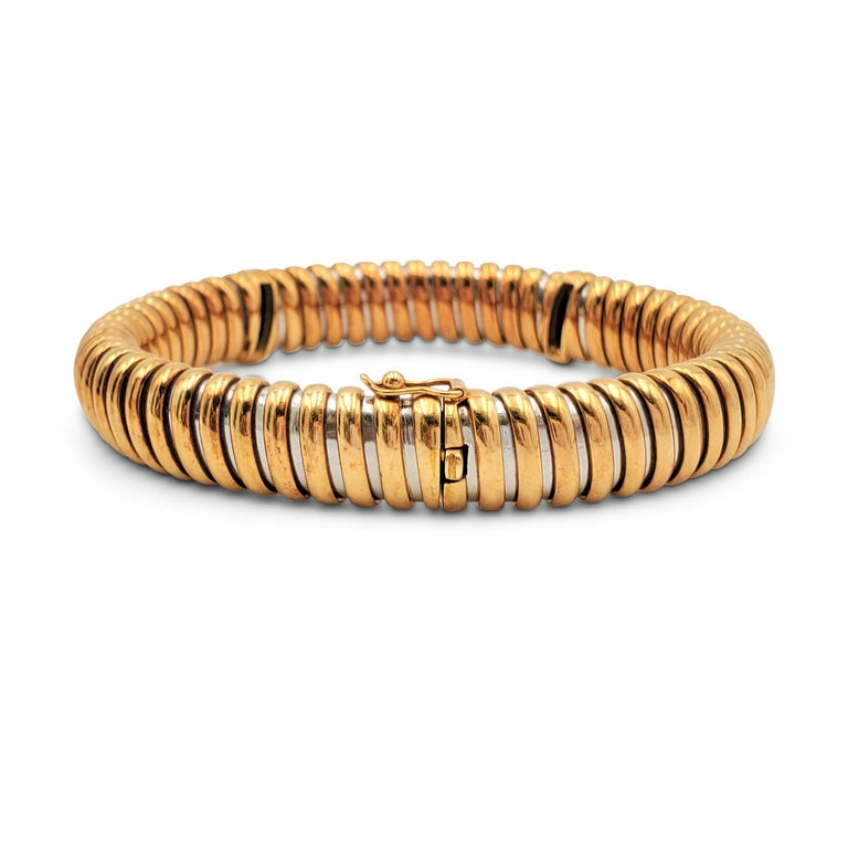 Women's or Men's Vintage Cartier Yellow Gold Stainless Steel and Diamond Flexible Bracelet