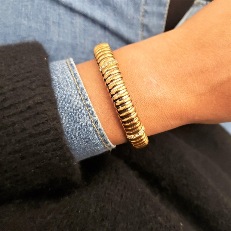 Vintage Cartier Yellow Gold Stainless Steel and Diamond Flexible Bracelet 3