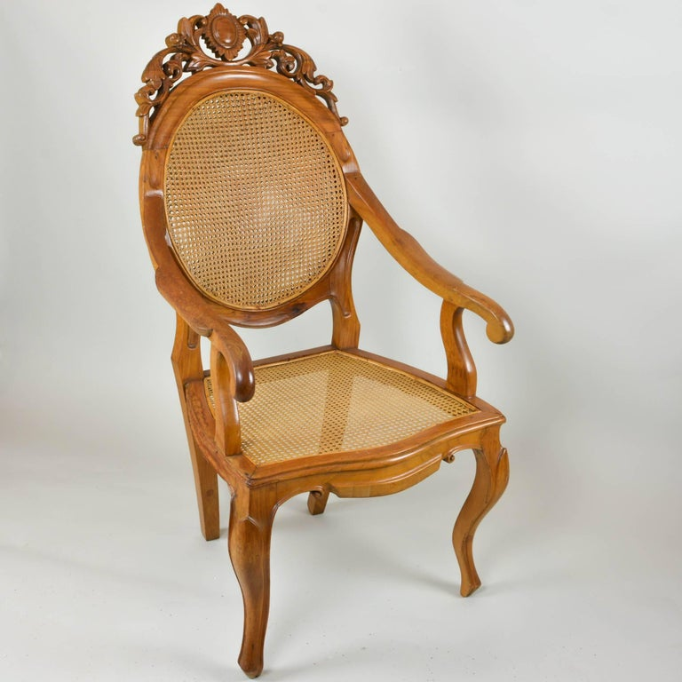 American Vintage Carved Accent Chair with Caned Seat and Back For Sale