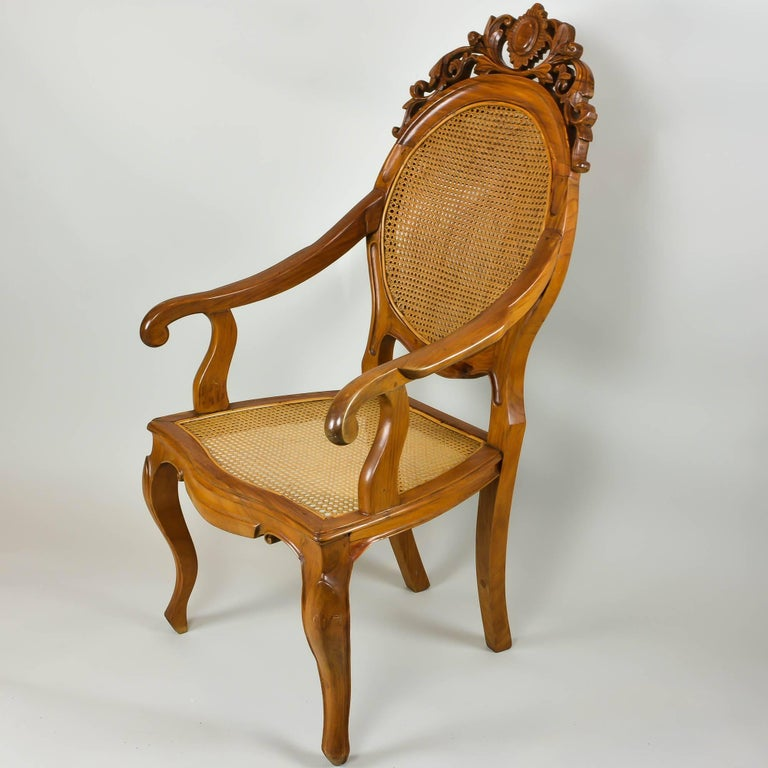 Vintage Carved Accent Chair with Caned Seat and Back In Excellent Condition For Sale In Pataskala, OH