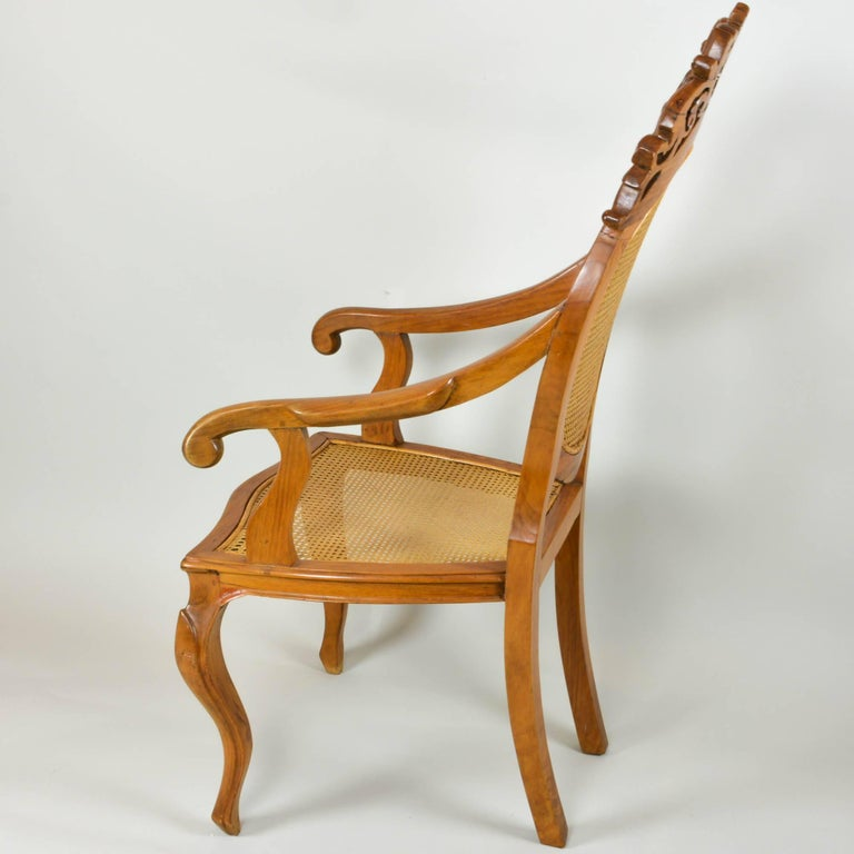 Vintage Carved Accent Chair with Caned Seat and Back For Sale 1