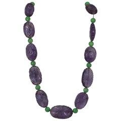 Vintage Carved Amethyst Jade Necklace '3 piece set' 14 Karat