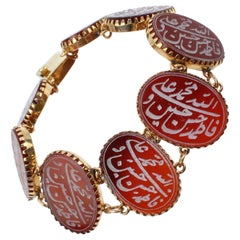 Vintage Carved Carnelian Islamic Amulet and 14 Karat Gold Link Bracelet