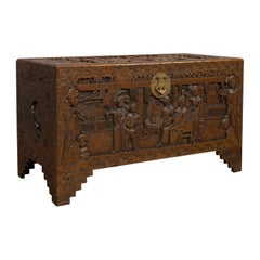 Vintage Carved Chest, Oriental, Camphorwood, Decorative Trunk, Art Deco, 1940