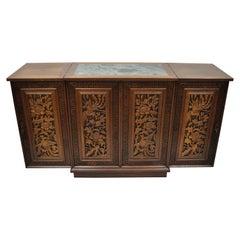 Vintage Carved Chinese Oriental Folding Expandable Bar Liquor Cabinet Server