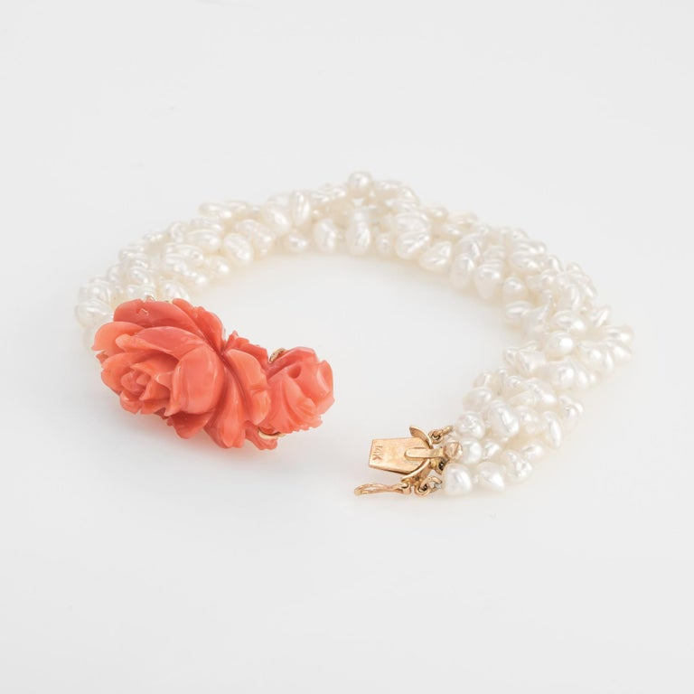Vintage Carved Coral Bracelet 4 Strand Freshwater Pearls 14 Karat Gold Estate In Excellent Condition For Sale In Torrance, CA