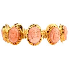 Vintage Carved Coral Cameo 18 Karat Gold Link Bracelet