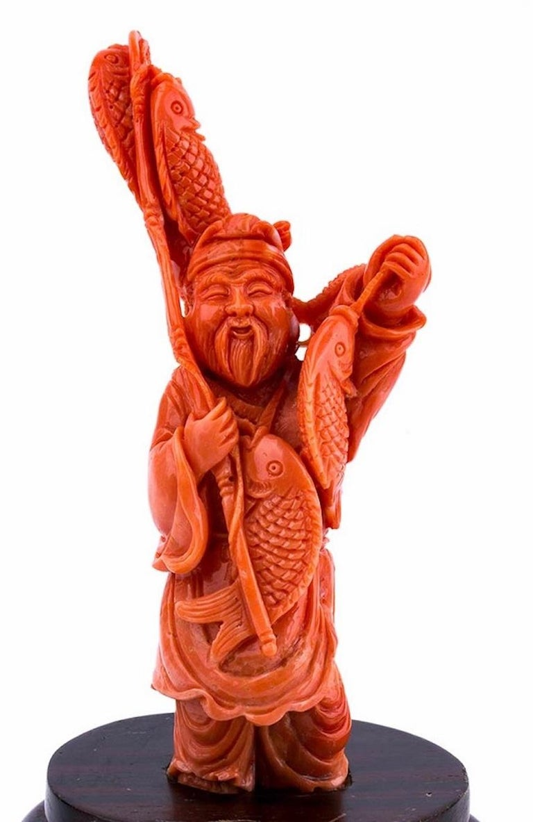 Japanese Vintage Carved Coral Depicting the God Ebisu, Japan, Early 20th Century For Sale