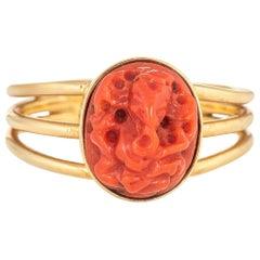Vintage Carved Coral Ganesha Elephant Ring Hindu 14 Karat Yellow Gold Jewelry