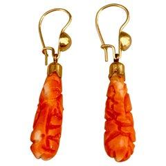 Vintage Carved Coral Teardrop Shaped 14 Karat Yellow Gold Ear Wire Hook Earrings
