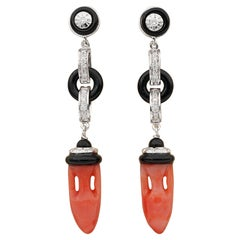 Vintage Carved Coral Urns Black Onyx Diamond Ear Drops