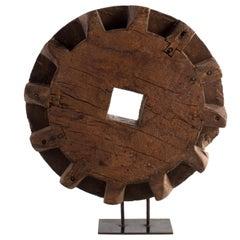 Vintage Carved Decorative Wood Element on Black Steel Base