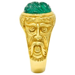 Vintage Carved Emerald 18 Karat Gold Green Man Men's Unisex Ring