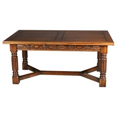 Vintage Carved Gothic Style Draw-Top Trestle Table by Kittinger, 20th Century