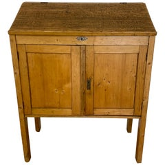 Vintage Carved Graffiti Pine Lift Slant Top Cabinet, C.1930
