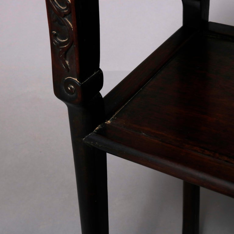 Vintage Carved Hardwood and Inset Marble Chinese Plant Stand, 20th Century For Sale 7