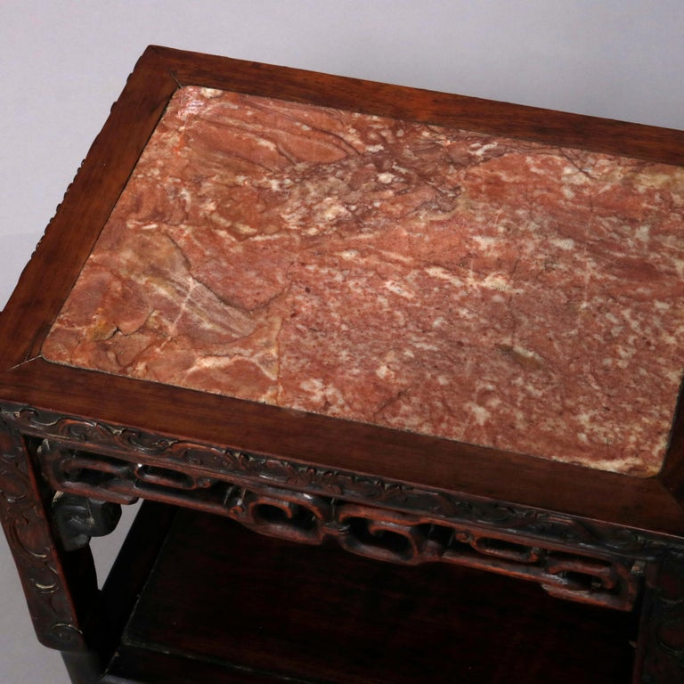 Vintage Carved Hardwood and Inset Marble Chinese Plant Stand, 20th Century For Sale 9