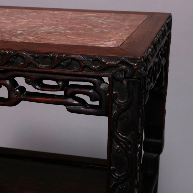 Vintage Carved Hardwood and Inset Marble Chinese Plant Stand, 20th Century For Sale 10