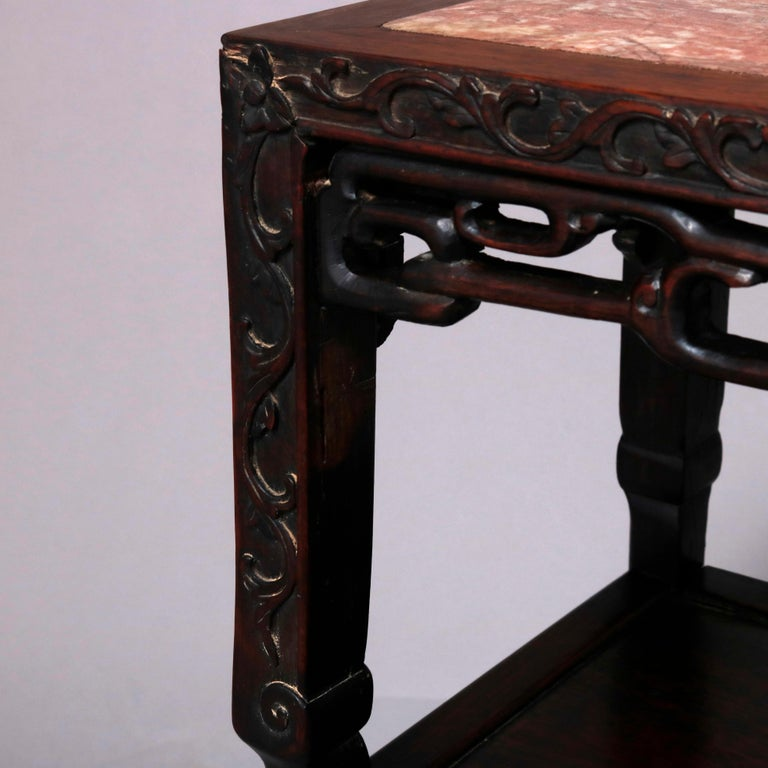 Vintage Carved Hardwood and Inset Marble Chinese Plant Stand, 20th Century In Good Condition For Sale In Big Flats, NY