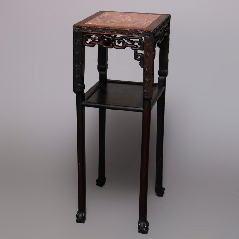 Vintage Carved Hardwood and Inset Marble Chinese Plant Stand, 20th Century For Sale 1