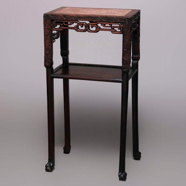 Vintage Carved Hardwood and Inset Marble Chinese Plant Stand, 20th Century For Sale 2