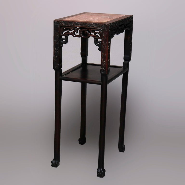 Vintage Carved Hardwood and Inset Marble Chinese Plant Stand, 20th Century For Sale 3