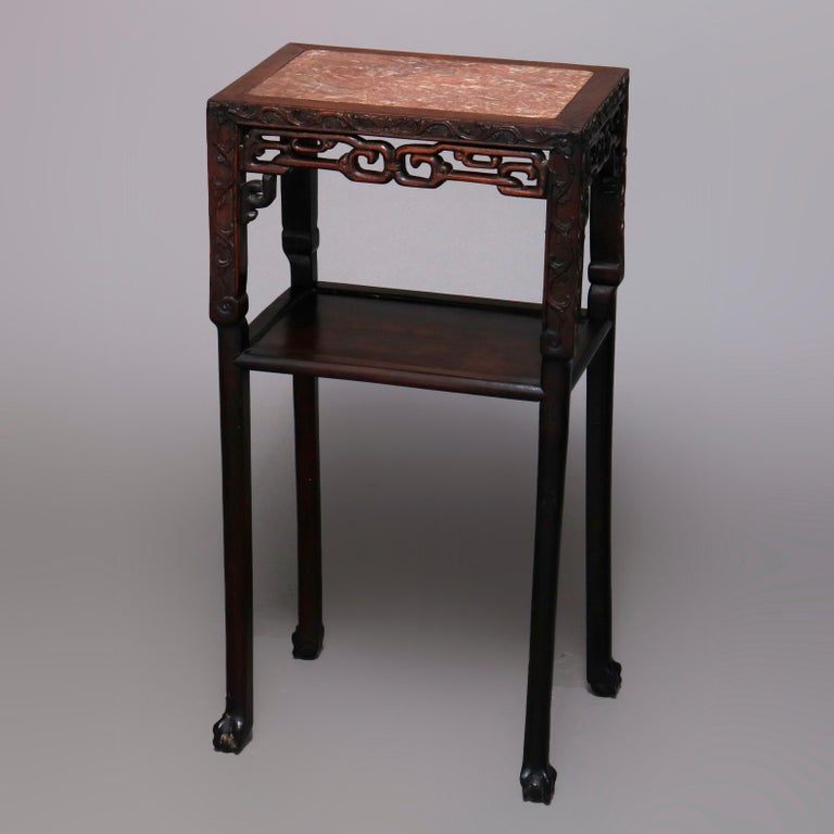 Vintage Carved Hardwood and Inset Marble Chinese Plant Stand, 20th Century For Sale 4