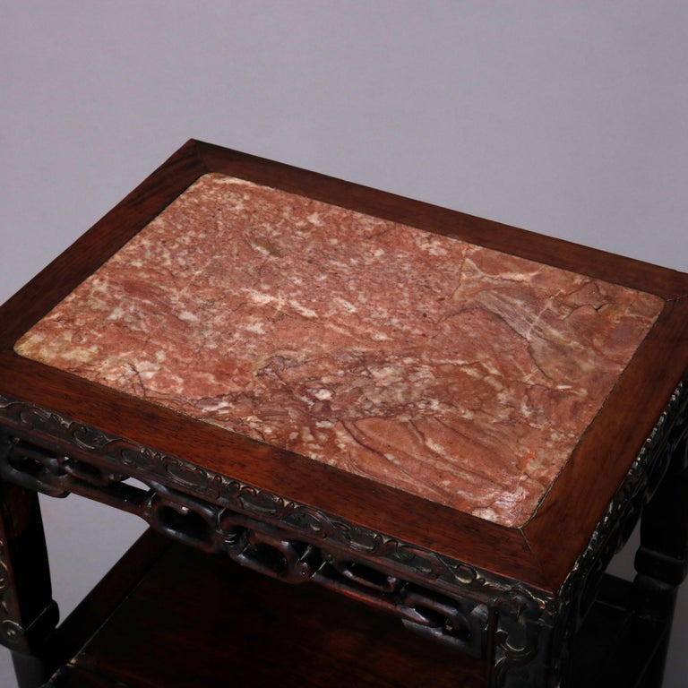 Vintage Carved Hardwood and Inset Marble Chinese Plant Stand, 20th Century For Sale 5
