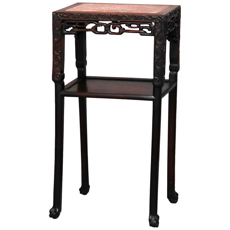 Vintage Carved Hardwood and Inset Marble Chinese Plant Stand, 20th Century For Sale