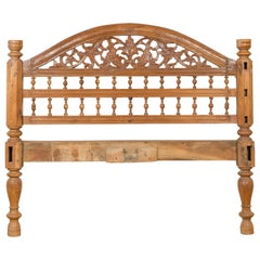 Vintage Carved Indonesian Headboard with Scrolling Foliage and Petite Balusters