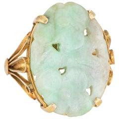Vintage Carved Jade Flower Ring 14 Karat Gold Cocktail Estate Fine Jewelry 6