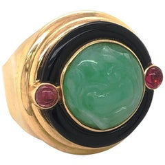 Vintage Carved Jade Pink Tourmaline Onyx 14 Karat Yellow Gold Ring