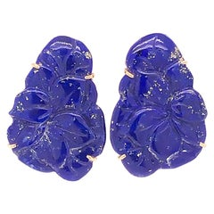 Vintage Carved Lapis Lazuli Floral Earrings in 14 Karat Yellow Gold