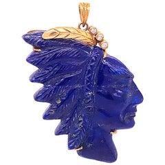 Vintage Carved Lapis Lazuli Indian Head and Diamond Pendant