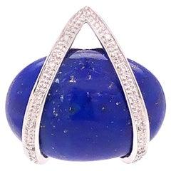 Vintage Carved large Oval Lapis Lazuli and Diamond Pendant