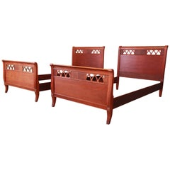 Vintage Carved Mahogany Twin Beds, Pair