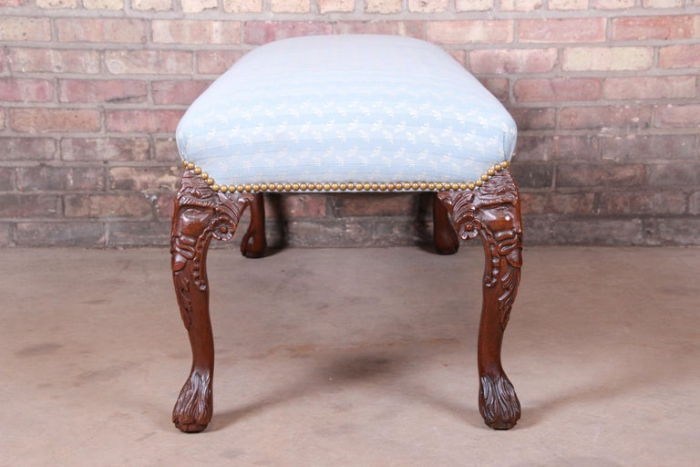 Vintage Carved Mahogany Upholstered Window Bench For Sale 4