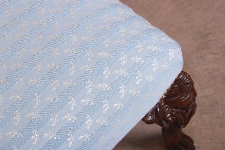 Vintage Carved Mahogany Upholstered Window Bench For Sale 5