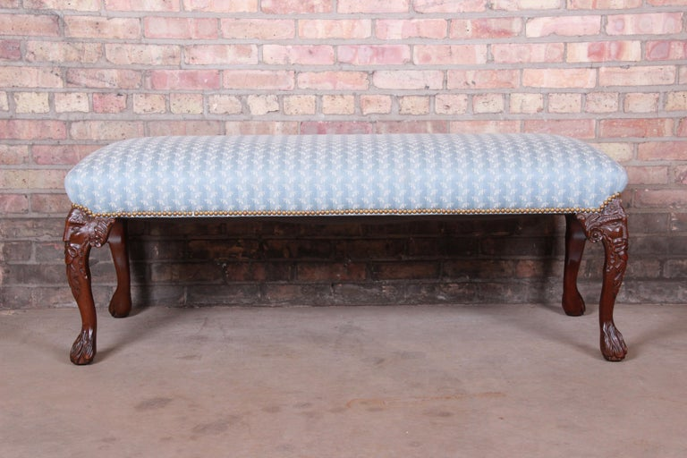 French Provincial Vintage Carved Mahogany Upholstered Window Bench For Sale