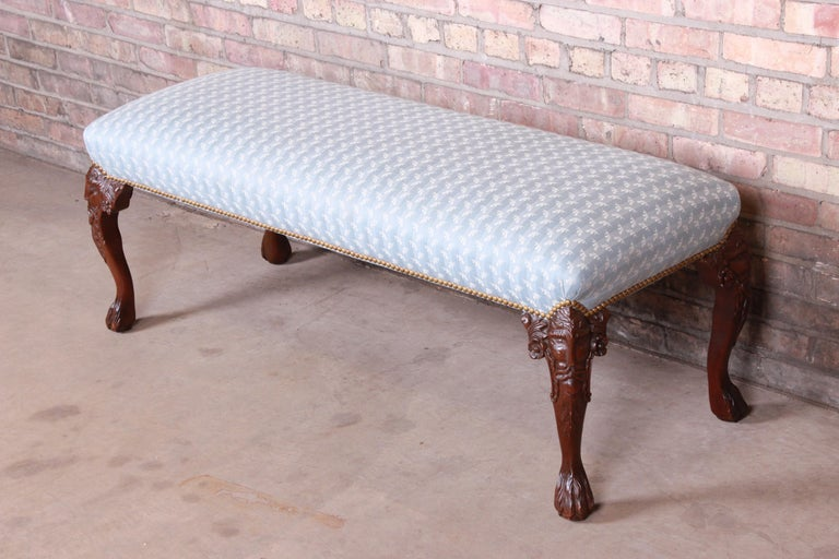 20th Century Vintage Carved Mahogany Upholstered Window Bench For Sale