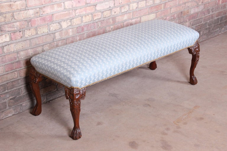 Upholstery Vintage Carved Mahogany Upholstered Window Bench For Sale