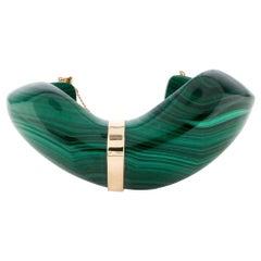 Vintage Carved Malachite Gold Detail Cuff Bracelet